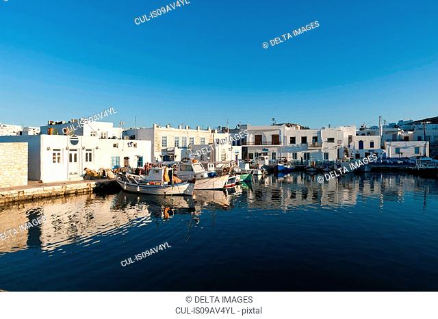 Fishing boats moored in harbour, Naousa, Paros, Cyclades Islands, Aegean sea, Greece