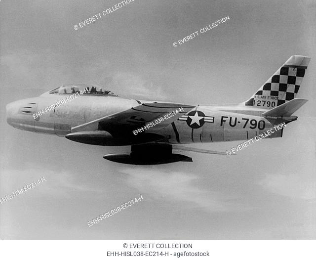 F-86 Sabre Jet was the first U.S. jet fighter to have swept wings. This one is headed toward 'MIG Alley' in north west North Korea on the Yalu River