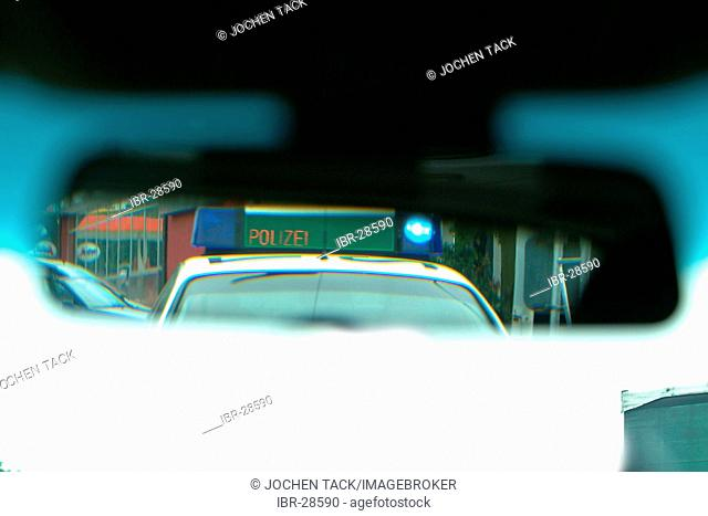 DEU, Germany, NRW: Signal equipment on a police car, blue lights and optical stop-sign. Highwaypolice, Highway patrol