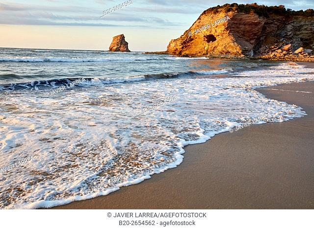 Beach, The Twin Rock, Hendaye, Pyrenees Atlantiques, Aquitaine, France