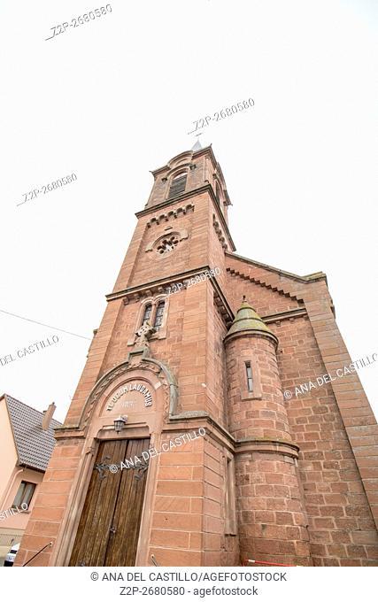 Street scenery in Mittelbergheim, a village of a region in France named Alsace. St Stefan church