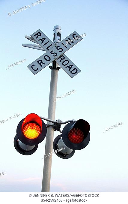A railroad crossing signal in eastern Washington State, USA
