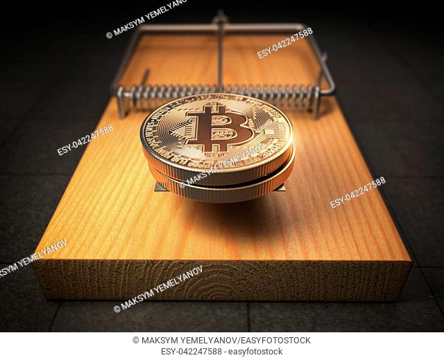 Bitcoin BTC coins in the mousetrap. Financial invetsment risk concept. 3d illustration