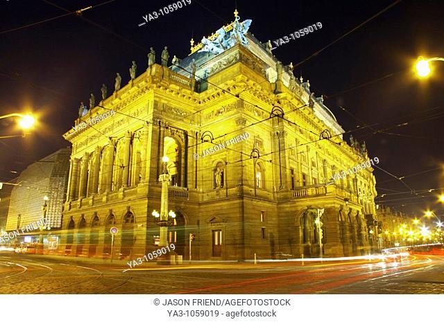 Czech Republic, Prague, National Theatre  Cityscape scene at dusk outside the National Theatre in Prague