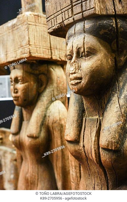 Wood Sculptures. Egyptian Pharaonic collection. Louvre Museum. Paris. France