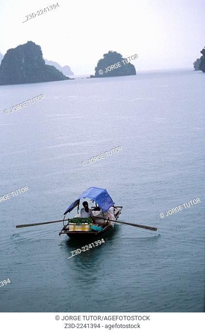 Woman vendor rowing a boat in a rainy day H? Long Halong BayUNESCO World Heritage Site Vietnam