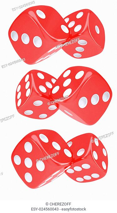 Red dice. Isolated render on a white background