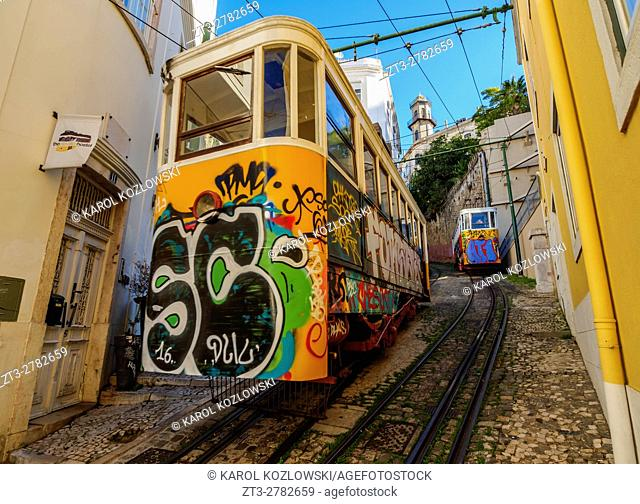 Portugal, Lisbon, View of the Lavra Funicular