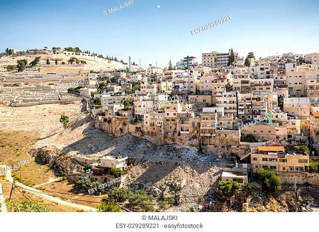 Skyline of the palestinian part of Jerusalem with Mount of Olives