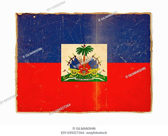 weathered flag of Haiti, paper textured