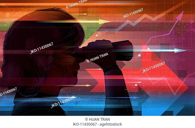Businesswoman looking through binoculars forecasting financial outlook