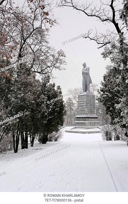 Ukraine, Dnepropetrovsk Region, Dnepropetrovsk city, Monument in snowy park