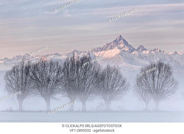 Turin province, Piedmont,Italy, Europe. Magic sunrise in the Piedmont plain