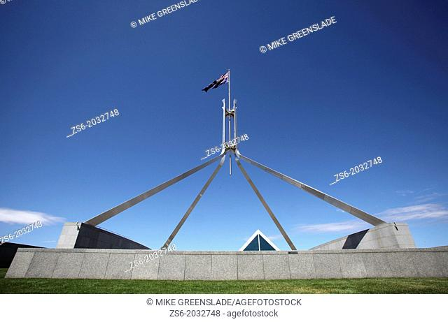 New Parliament House, Canberra, ACT, Australia from the roof