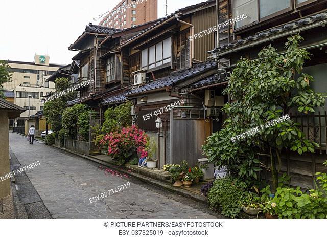 Narrow lane in Nagamachi, the historical samurai district in Kanazawa