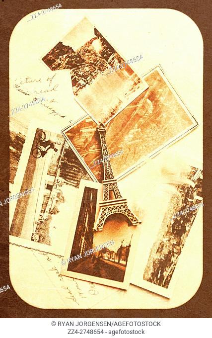 Vintage romance conceptual of a antique boarded postcard containing romantic details from Paris the city of love