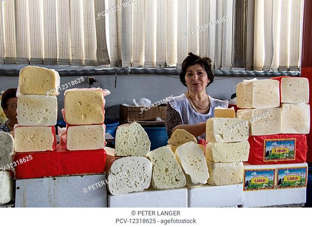 Cheese vendor at the Shuka No. 2 Food Market; Yerevan, Armenia