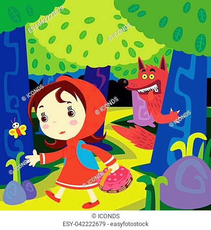 Vector illustration of the Fairy tale Little Red Riding Hood. Back Ground and main frame are in separate layers, easy eitable top space suitable for copy…