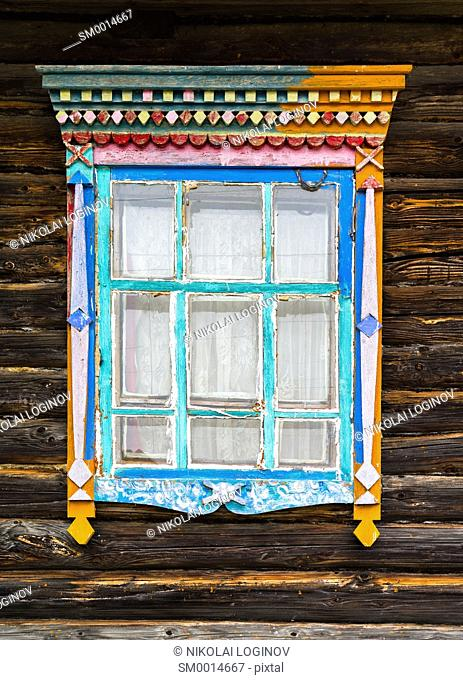 Vertical Russian window design decoration composition