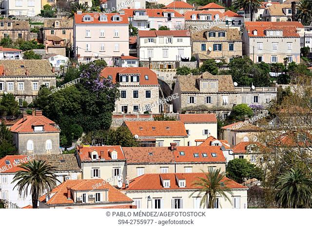 Overview of the houses in Dubrovnik, Croatia