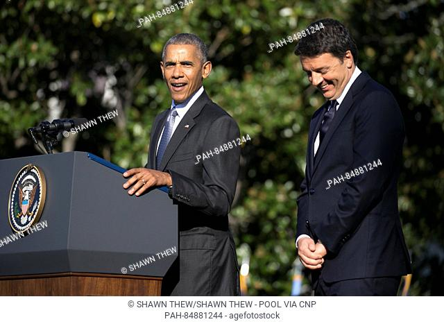 US President Barack Obama (L) and Italian Prime Minister Matteo Renzi (R)participate in an official arrival ceremony on the South Lawn of the White House in...