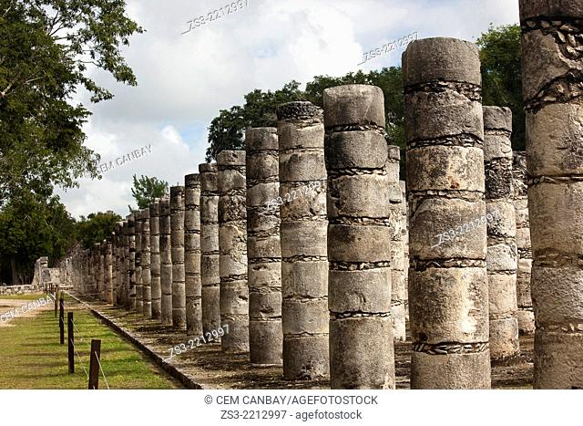 Temple Of Warriors in prehispanic Mayan city of Chichen Itza Archaeological Site, Yucatan Province, Mexico, North America