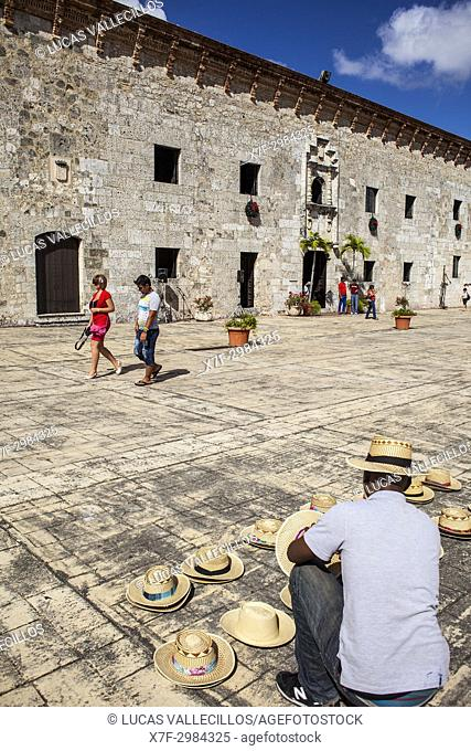Seller of Hats and Museo de las casas reales,old city, Santo Domingo, Dominican Republic