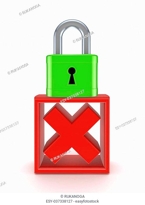 Lock and cross mark.Isolated on white background.3d rendered