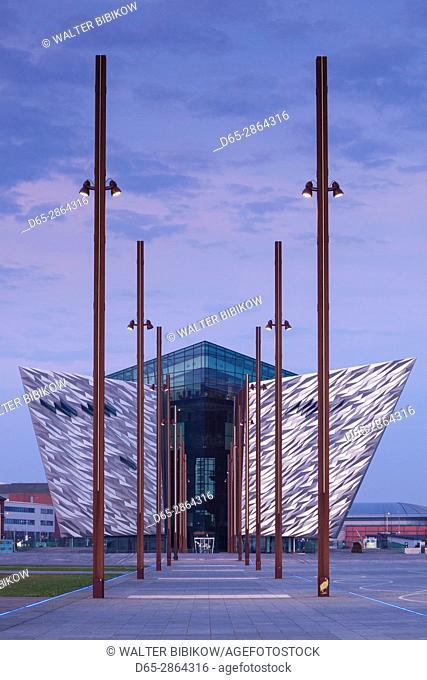 UK, Northern Ireland, Belfast, Belfast Docklands, Titanic Belfast Museum, exterior, dawn