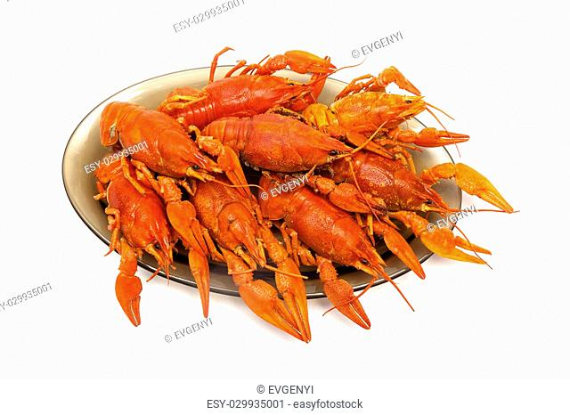river boiled crayfish on a plate isolated on white background. horizontal photo