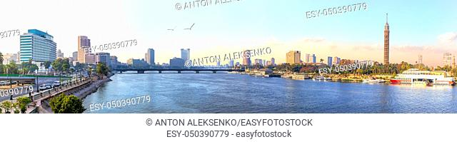 Panorama of Cairo, the Nile and Gezira island view, Egypt