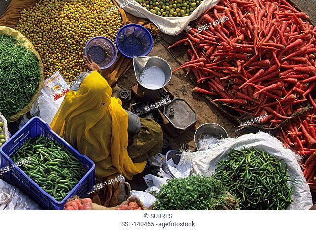 Fruit and vegetable stall ,Choti Chaupar market ,Jaipur