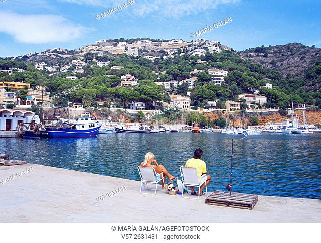 People fishing in the harbour. Javea, Alicante province, Comunidad Valenciana, Spain