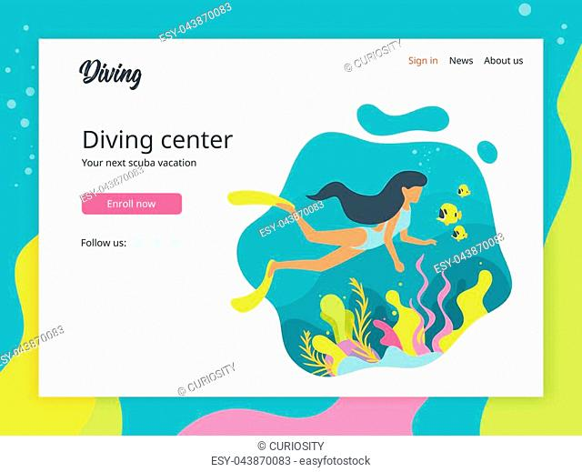 Vector flat style illustration of a woman diving under the sea. Underwater background with sea flora and fauna. Coral reef, sea plants and fishes