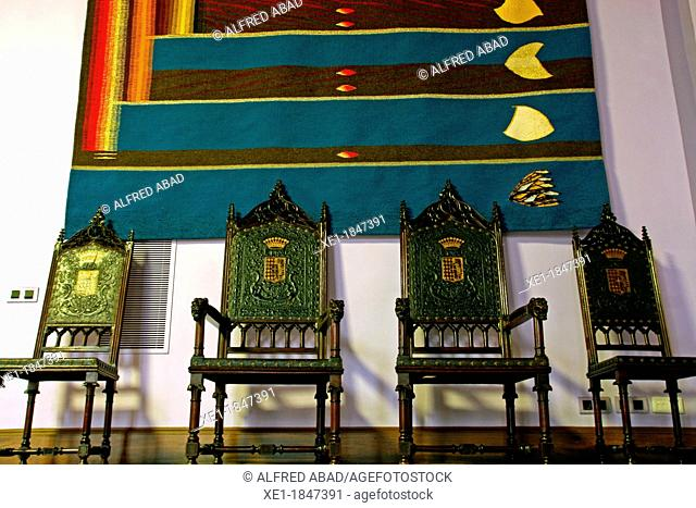 chairs, Centelles Palace, s XV, Barcelona, Catalonia, Spain