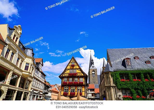 Rathaus Quedlinburg facade in Harz of Germany