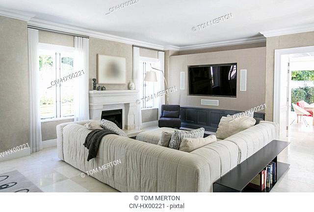 Home showcase living room with sectional sofa