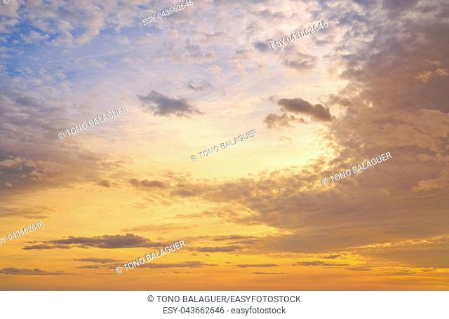 Sunset colorful sky background orange and blue