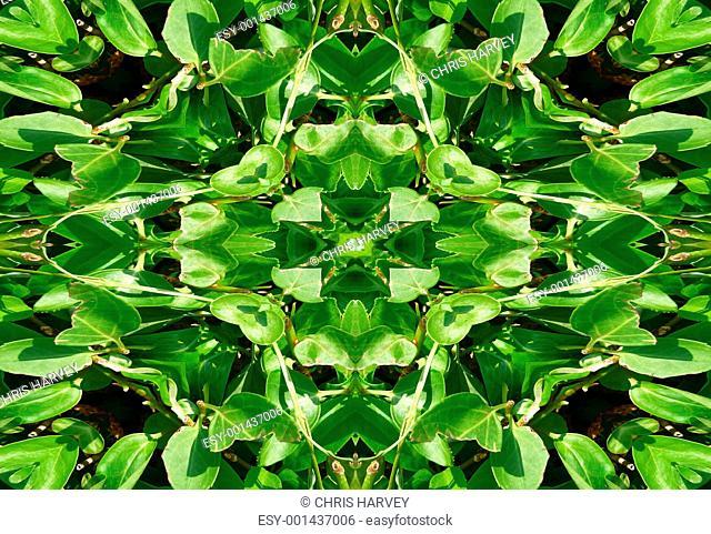 Green Leaves Tile Pattern Background