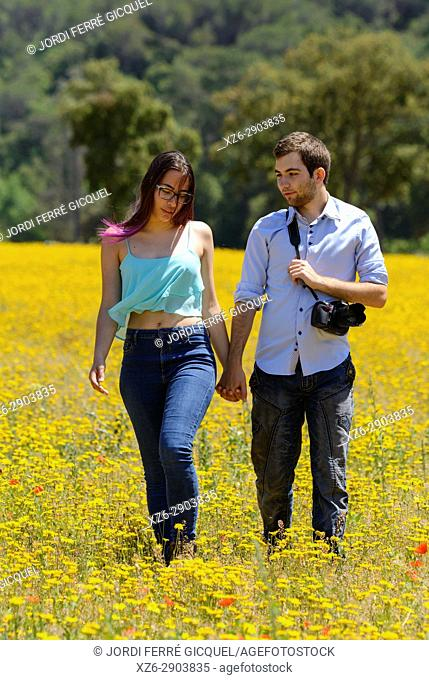 Young couple in love walking in a yellow field