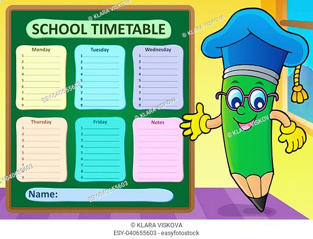 Weekly school timetable template 2 - picture illustration