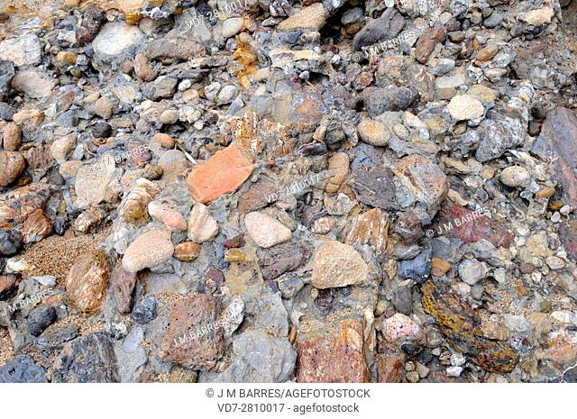 Conglomerate is a clastic sedimentary rock composed of rounded clasts (pudding stone). This sample comes from Pals, Girona, Catalonia, Spain