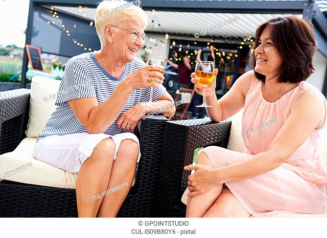 Senior and mature women raising a wine toast at family lunch on patio