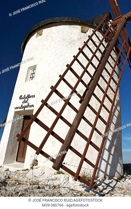 Windmill 'Caballero del Verde Gabán'. Now a library where you can see printed editions in different idioms of 'Don Quixote' one of them in Braille