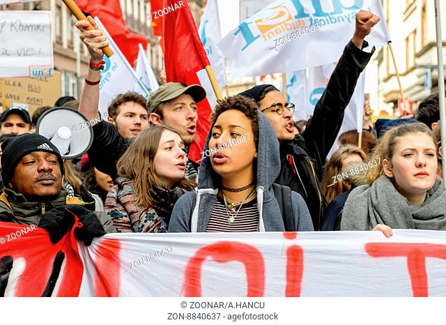STRASBOURG, FRANCE - 9 MAR 2016: Crowd yelling as part of nationwide day of protest against proposed labor reforms by Socialist Government