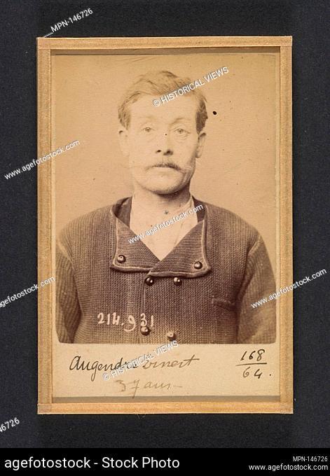 Augendre. Ernest. 37 ans, né à St-Pierre le Moutier (Nièvre). Maçon. Anarchiste. 1/3/94. Artist: Alphonse Bertillon (French