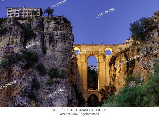 Spain, Andalucia,, Malaga Province, Ronda , El Tajo de Ronda Bridge