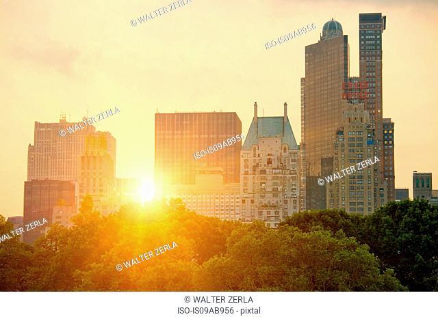New York skyline over central park, New York City, USA