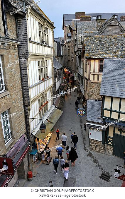 main street inside the walls of Mont-Saint-Michel, Manche department, Normandy region, France, Europe
