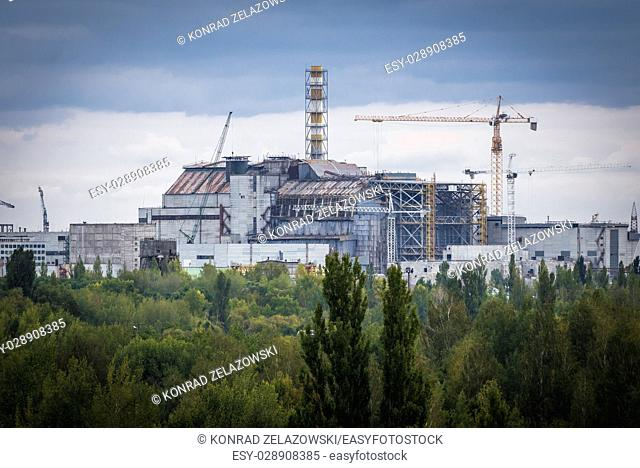Reactor number 4 of Chernobyl Nuclear Power Plant in Zone of Alienation around nuclear reactor disaster in Ukraine